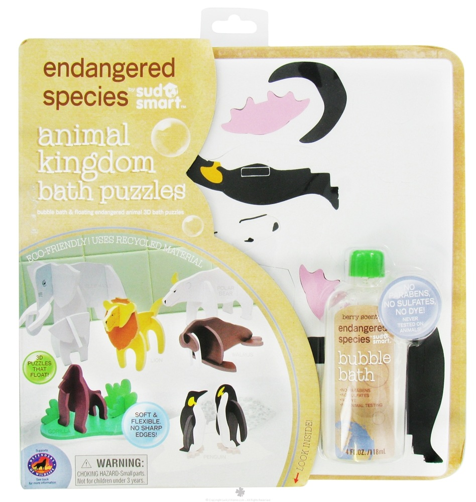 Health Science Labs - Endangered Species Animal Kingdom Bath Puzzles Set with 4 oz. Bubble Bath Berry Scented - CLEARANCE PRICED