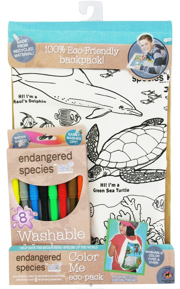 Health Science Labs - Endangered Species Color Me Eco-Pack Backpack with Washable Markers Ocean - CLEARANCE PRICED