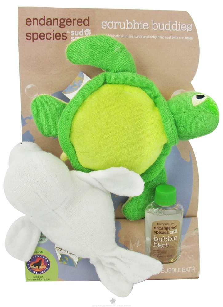 Health Science Labs - Endangered Species Scrubbie Buddies Set with 2 oz. Bubble Bath Berry Scented - CLEARANCE PRICED