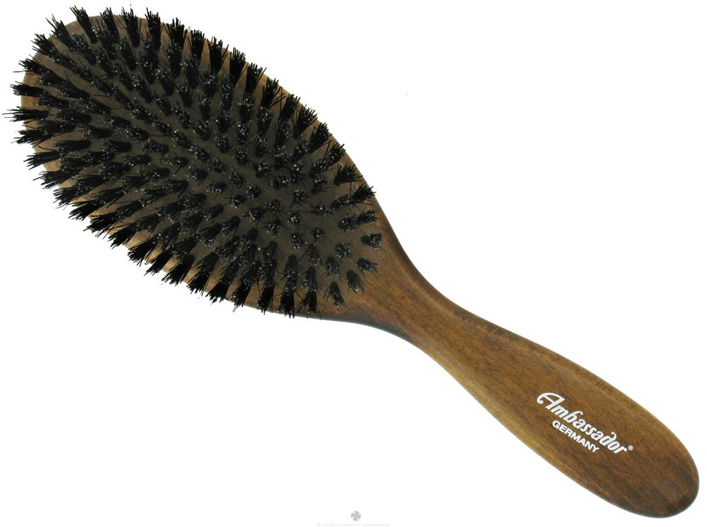 Ambassador Hairbrushes - Pure Natural Bristle Hairbrush Oval Dark Wood