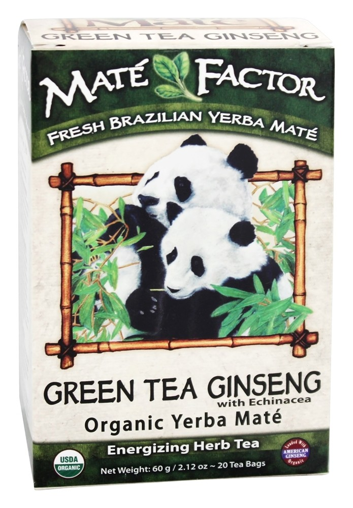 Mate Factor - Organic Yerba Mate Energizing Herb Tea Green Tea Ginseng with Echinacea - 20 Tea Bags