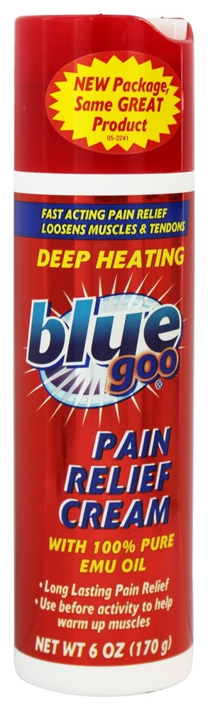 Blue Goo - Deep Heating Pain Relief Cream with 100% Pure Emu Oil - 6 oz.