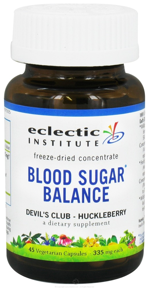 Eclectic Institute - Blood Sugar Balance Freeze-Dried Devil's Club Huckleberry Concentrate 335 mg. - 45 Vegetarian Capsules CLEARANCE PRICED