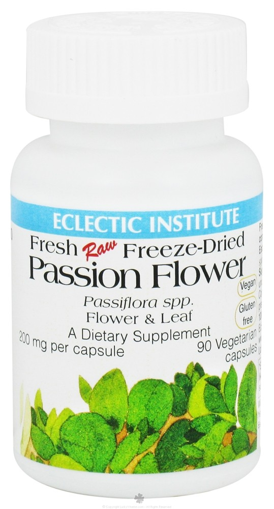 Eclectic Institute - Passion Flower & Leaf Fresh Raw Freeze-Dried 200 mg. - 90 Vegetarian Capsules