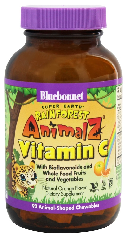Bluebonnet Nutrition - Animalz Vitamin C Natural Orange Flavor - 90 Chewables