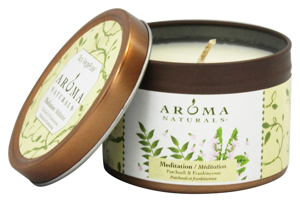 Aroma Naturals - Meditation Soy VegePure Small Travel Tin Eco-Candle Patchouli & Frankincense - CLEARANCE PRICED