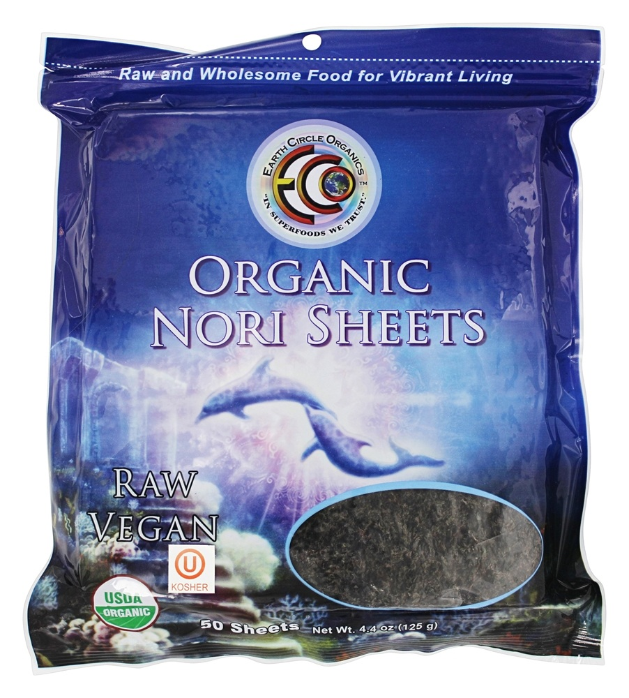 Earth Circle Organics - Raw Certified Organic Sushi Nori Sheets - 50 Sheet(s)