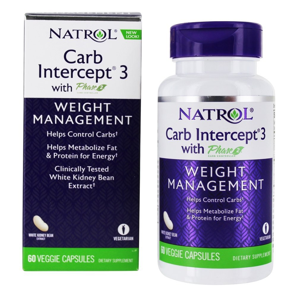 Natrol - Carb Intercept 3 with White Kidney Bean Extract - 60 Capsules