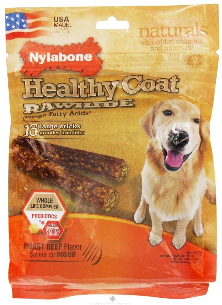 Nylabone - Healthy Coat Rawhide With Omega Fatty Acids Regular Dog Treats Roast Beef - 16 Stick(s)