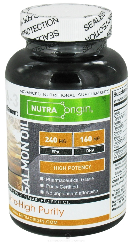 Nutra Origin - Omega-3 Salmon Oil High Potency - 60 Softgels CLEARANCE PRICED