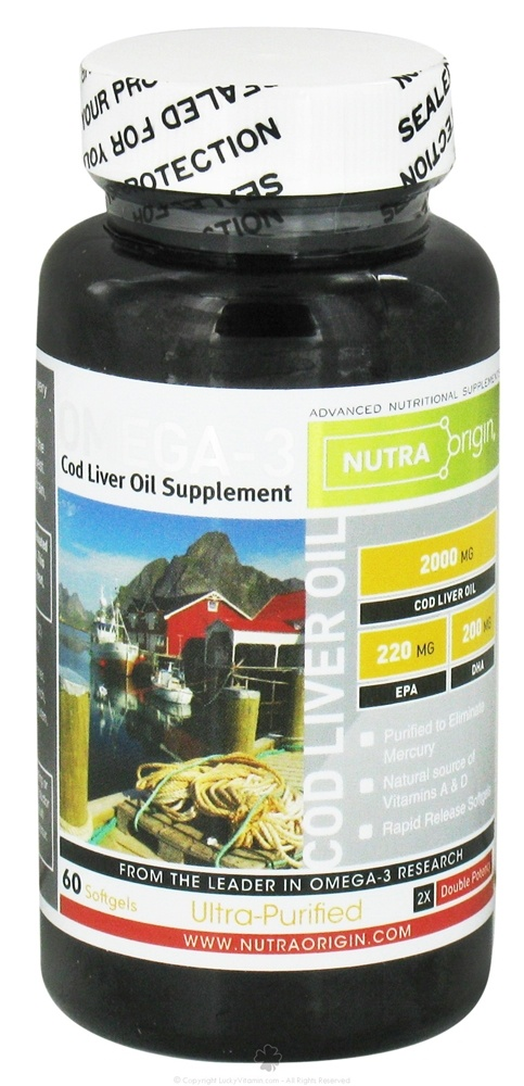Nutra Origin - Omega-3 Cod Liver Oil Double Potency 2000 mg. - 60 Softgels