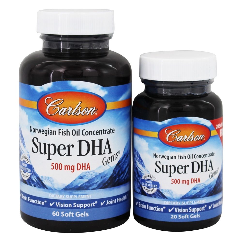 Carlson Labs - Super DHA Gems 500 mg. - Bonus Pack 60+20 Softgels