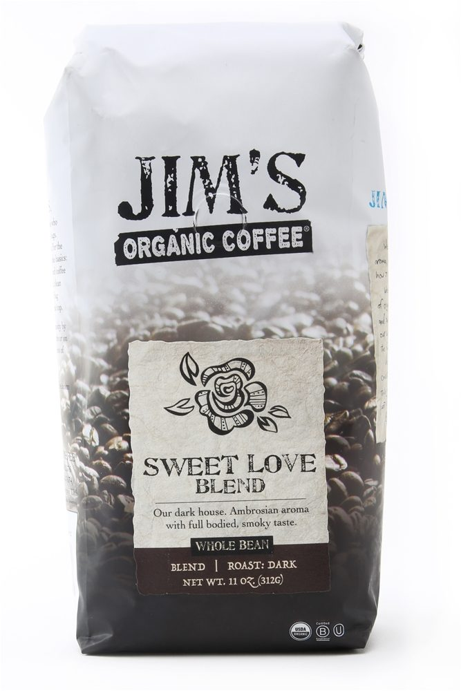 Jim's Organic Coffee - Whole Bean Coffee Sweet Love Blend - 12 oz.