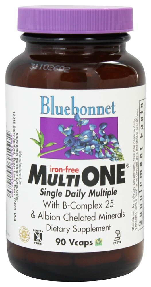Bluebonnet Nutrition - Multi One Multivitamin & Multimineral Iron-Free - 90 Vegetarian Capsules