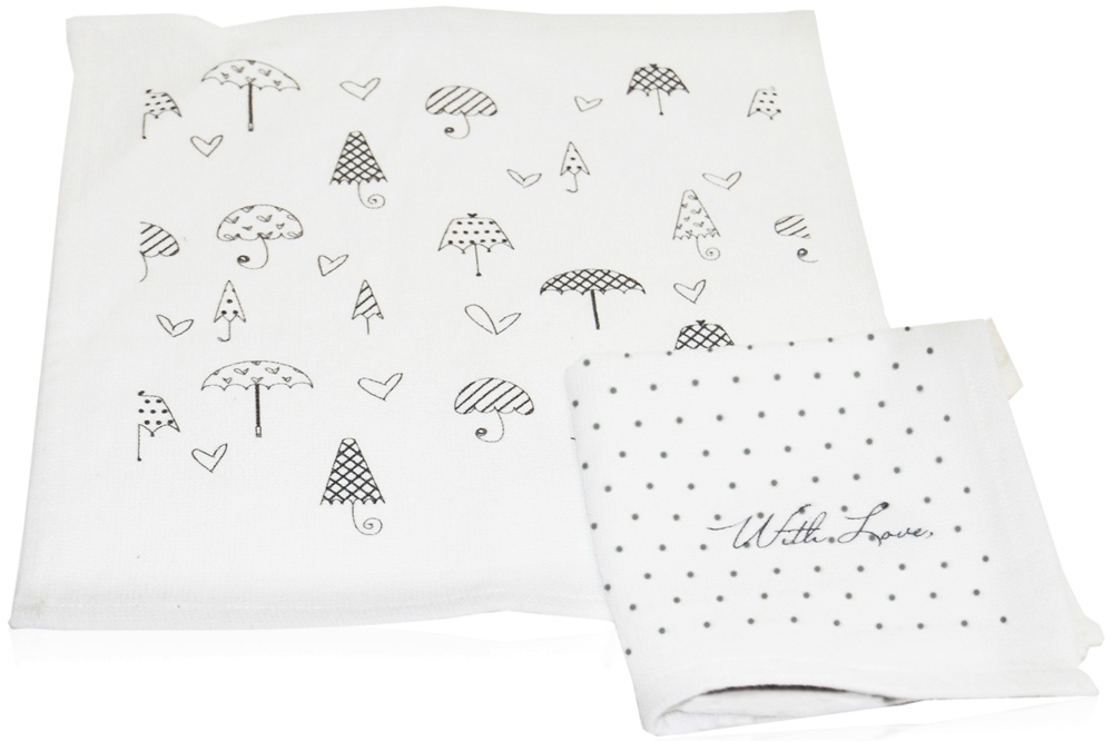 XO Eco - PeopleTowels Reusable Personal Hand Towels Umbrellas & Mini Dots - 2 Pack