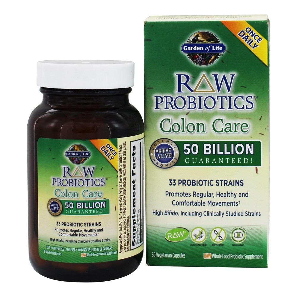 Garden of Life - Raw Probiotics Colon Care 33 Probiotic Strains - 30 Vegetarian Capsules