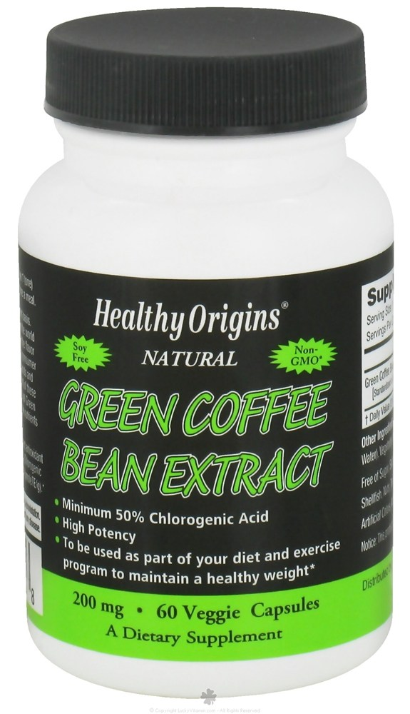 Healthy Origins - Natural Green Coffee Bean Extract 200 mg. - 60 Vegetarian Capsules