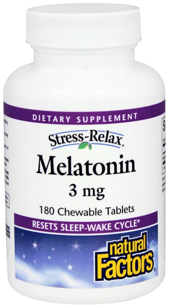 Natural Factors - Stress-Relax Melatonin 3 mg. - 180 Chewable Tablets CLEARANCE PRICED