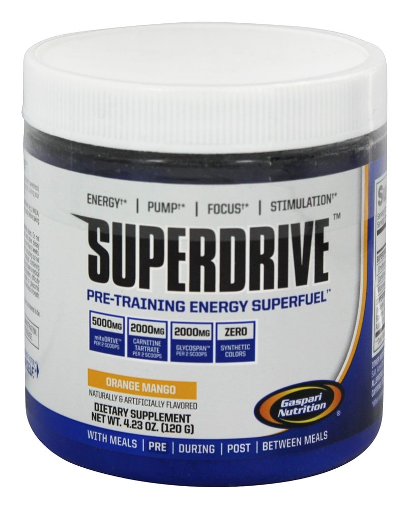 Gaspari Nutrition - Superdrive Pre-Training Energy Superfuel Orange Mango - 4.23 oz. CLEARANCE PRICED
