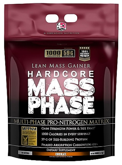 4 Dimension Nutrition - Hardcore Mass Phase Lean Mass Gainer Chocolate - 10 lbs.
