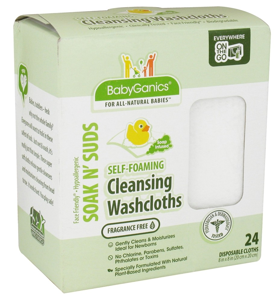 BabyGanics - Self-Foaming Cleansing Washcloths Soak N' Suds Fragrance Free - 24 Cloth(s) CLEARANCE PRICED