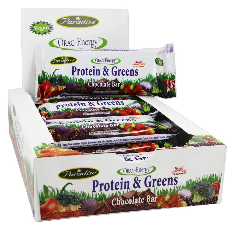 Paradise Herbs - Orac-Energy Protein & Greens Chocolate - 12 Bars