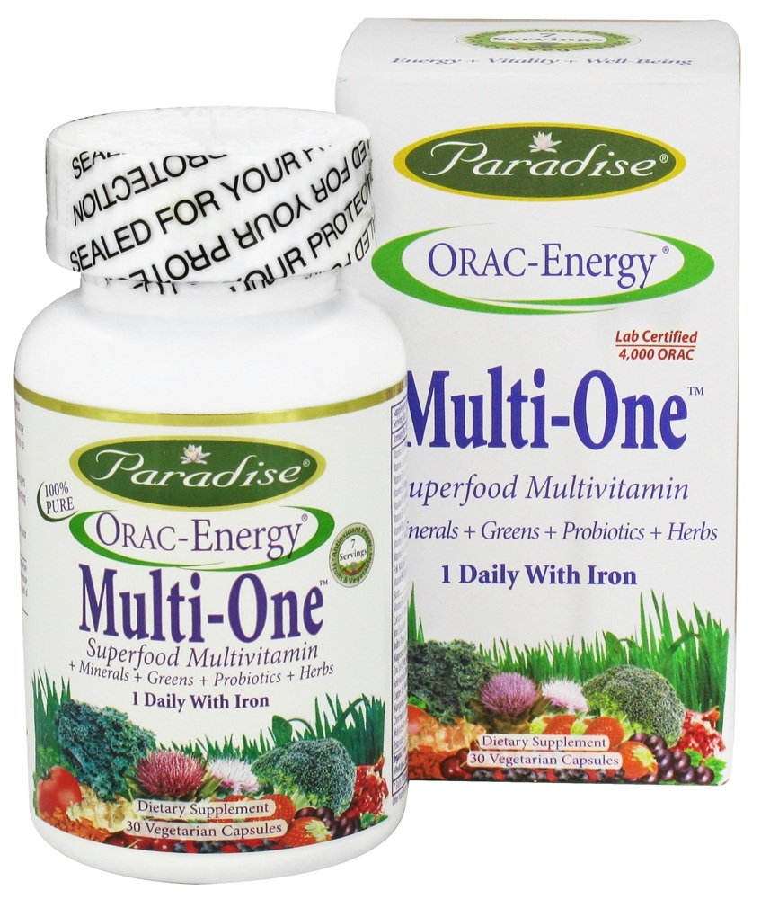 Paradise Herbs - Orac-Energy Multi-One With Iron - 30 Vegetarian Capsules CLEARANCE PRICED