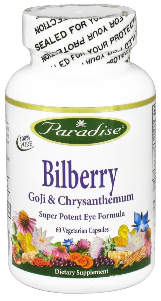 Paradise Herbs - Bilberry Goji & Chrysanthemum - 60 Vegetarian Capsules CLEARANCED PRICED