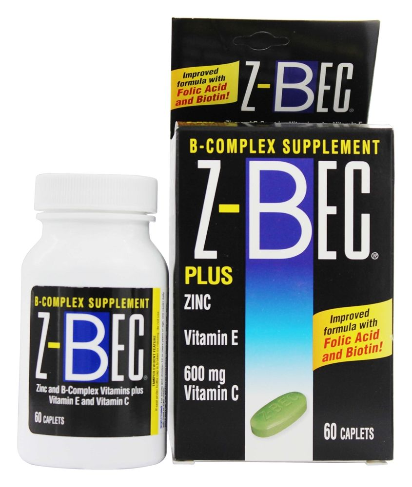 Z-Bec - B-Complex Supplement Plus Zinc - 60 Caplets