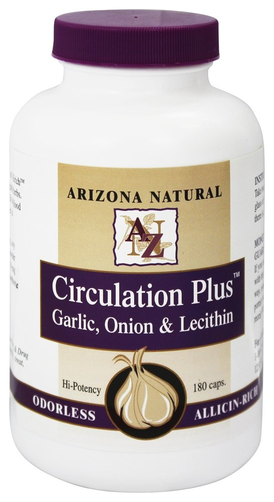 Arizona Natural - Circulation Plus Garlic, Onion, & Lecithin - 180 Capsules