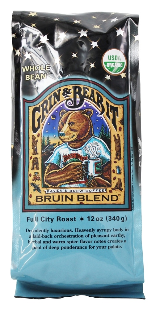 Raven's Brew Coffee - Bruin Blend Organic Whole Bean Coffee - 12 oz.