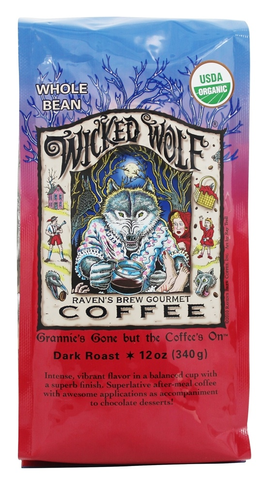 Raven's Brew Coffee - Wicked Wolf Organic Whole Bean Coffee - 12 oz.