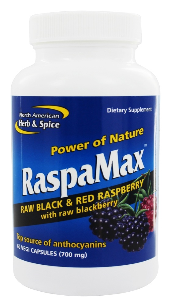 North American Herb & Spice - Power of Nature RaspaMax Berry Blend - 60 Vegetarian Capsules