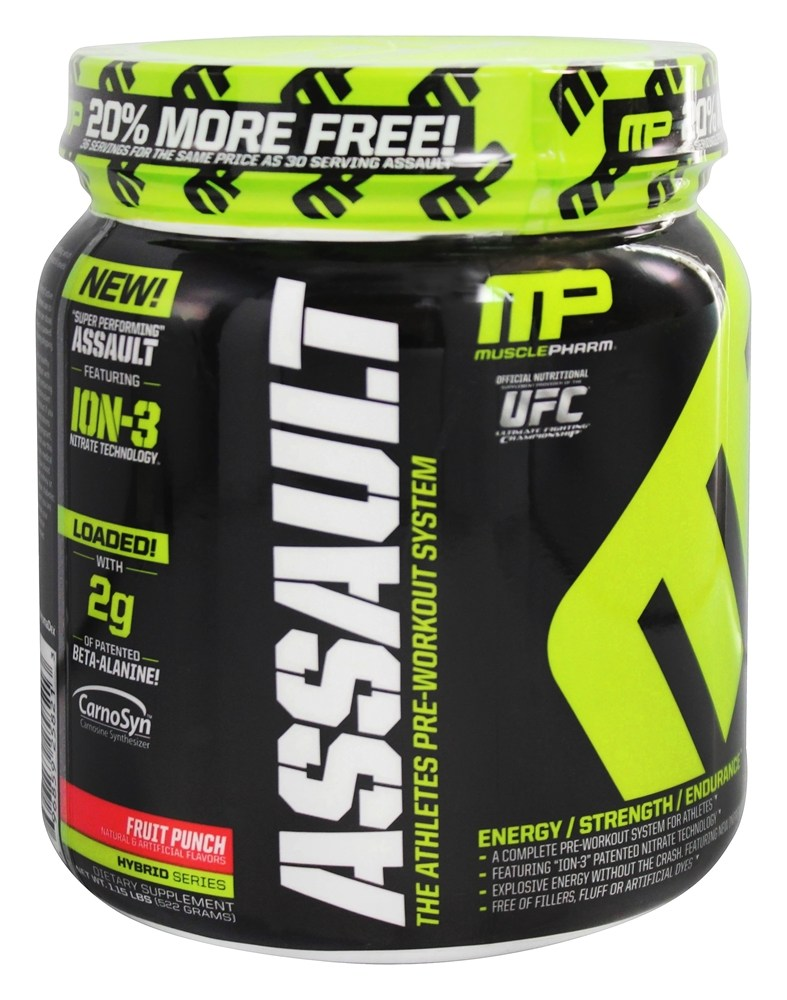Muscle Pharm - Assault Athletes Pre-Workout System Bonus Size Fruit Punch - 1.16 lbs.