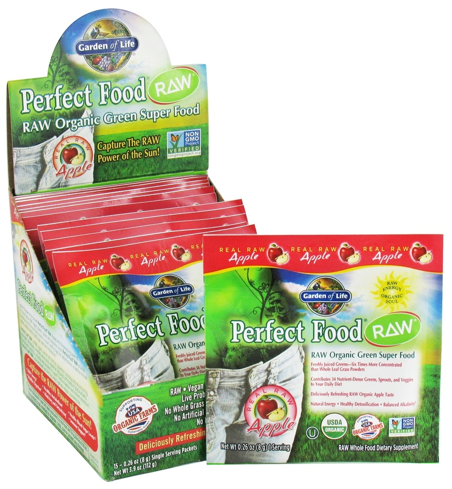 Garden of Life - Perfect Food Raw 100% Organic Green Superfood Apple - 15 x 8g Packets