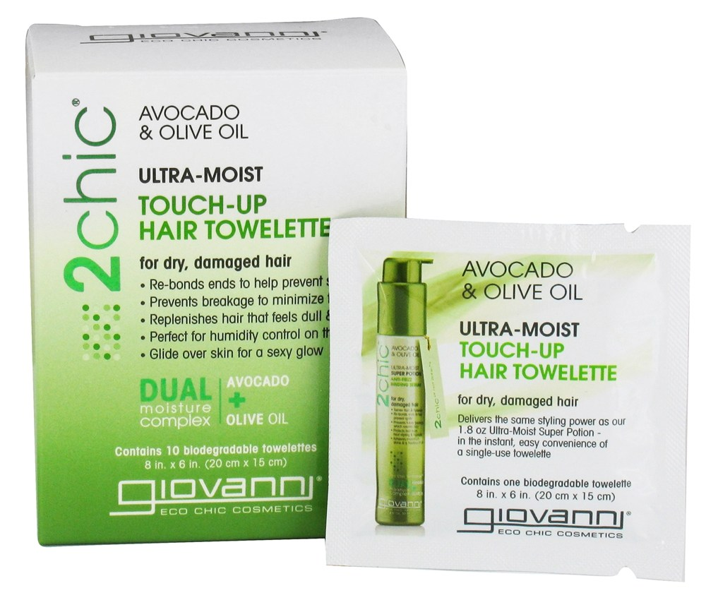 Giovanni - 2Chic Avocado & Olive Oil Ultra-Moist Touch-Up Hair Towelette - 10 Count