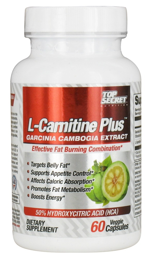 Top Secret Nutrition - L-Carnitine Plus Garcinia Camogia Extract - 60 Vegetarian Capsules