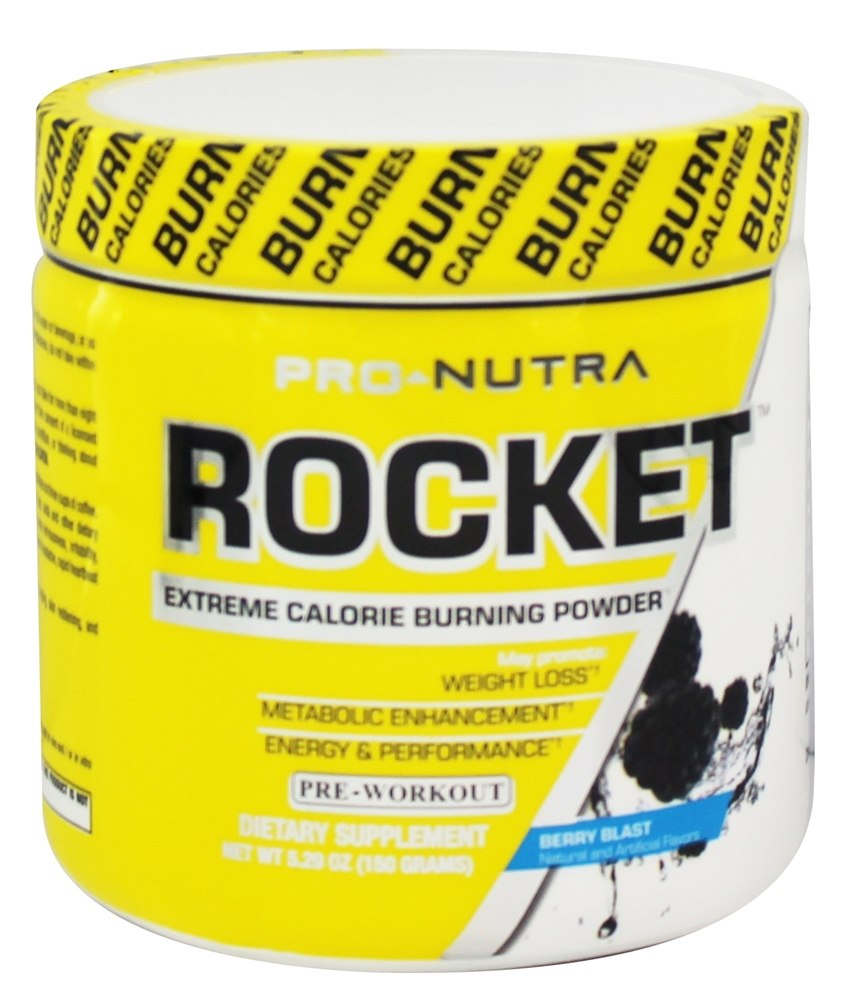 Pro Nutra - Rocket Pre-Workout Extreme Calorie Burning Powder Berry Blast - 5.29 oz.