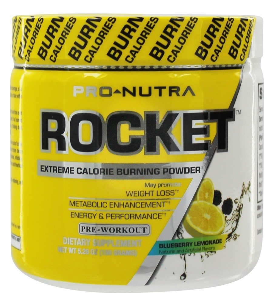 Pro Nutra - Rocket Pre-Workout Extreme Calorie Burning Powder Blueberry Lemonade - 5.29 oz.