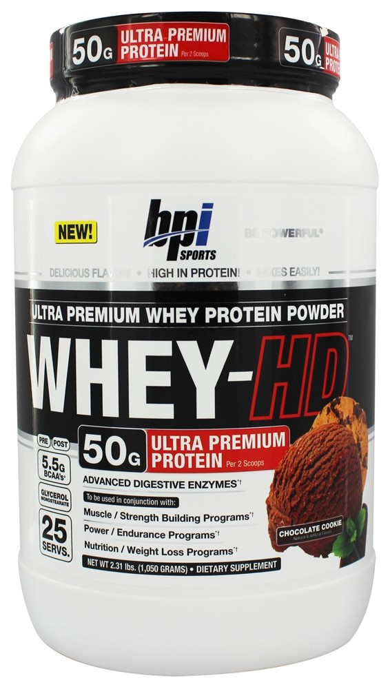 BPI Sports - Whey-HD Ultra Premium Whey Protein Powder Chocolate Cookie - 2.31 lbs.