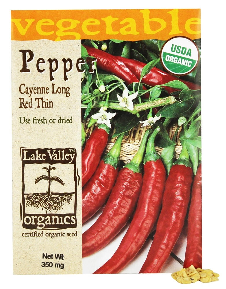 Lake Valley Seed - Organic Pepper Cayenne Long Red Thin Seeds - 350 mg.