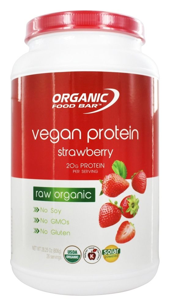 Organic Food Bar - Vegan Protein Raw Organic Strawberry - 28.25 oz.