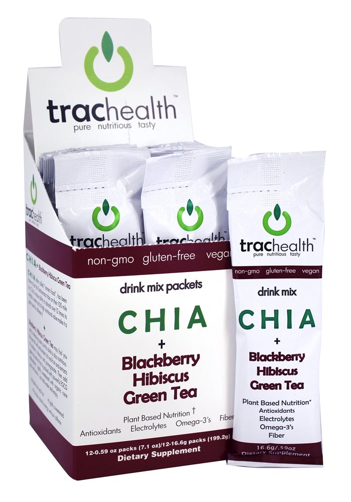 TracHealth - Chia + Blackberry Hibiscus Green Tea Drink Mix - 12x 0.59 oz. Packs