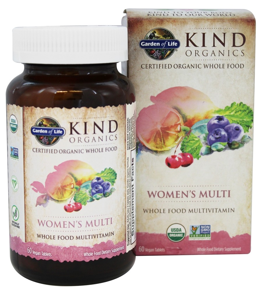 Garden of Life - Kind Organics Women's Multi Whole Food Multivitamin - 60 Vegetarian Tablets LUCKY PRICE