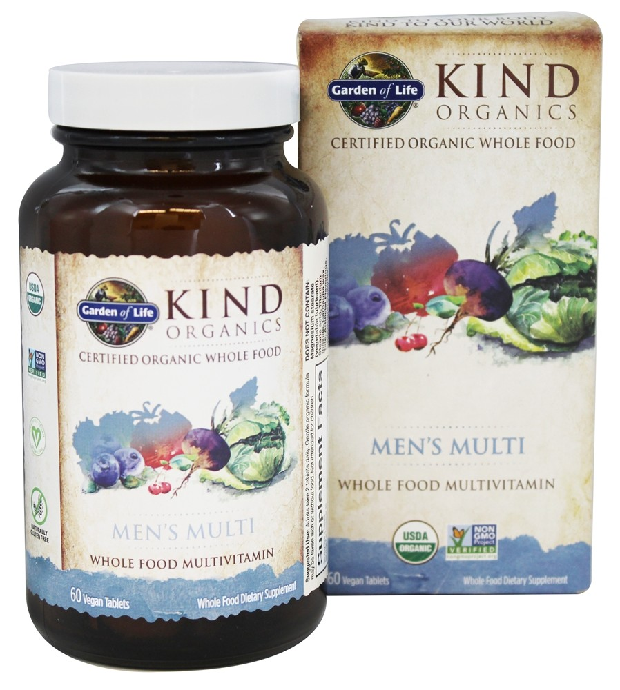 Garden of Life - Kind Organics Men's Multi Whole Food Multivitamin - 60 Vegetarian Tablets LUCKY PRICE
