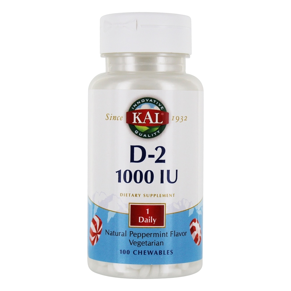 Kal - Vitamin D-2 Natural Peppermint Flavor 1000 IU - 100 Chewable Tablets
