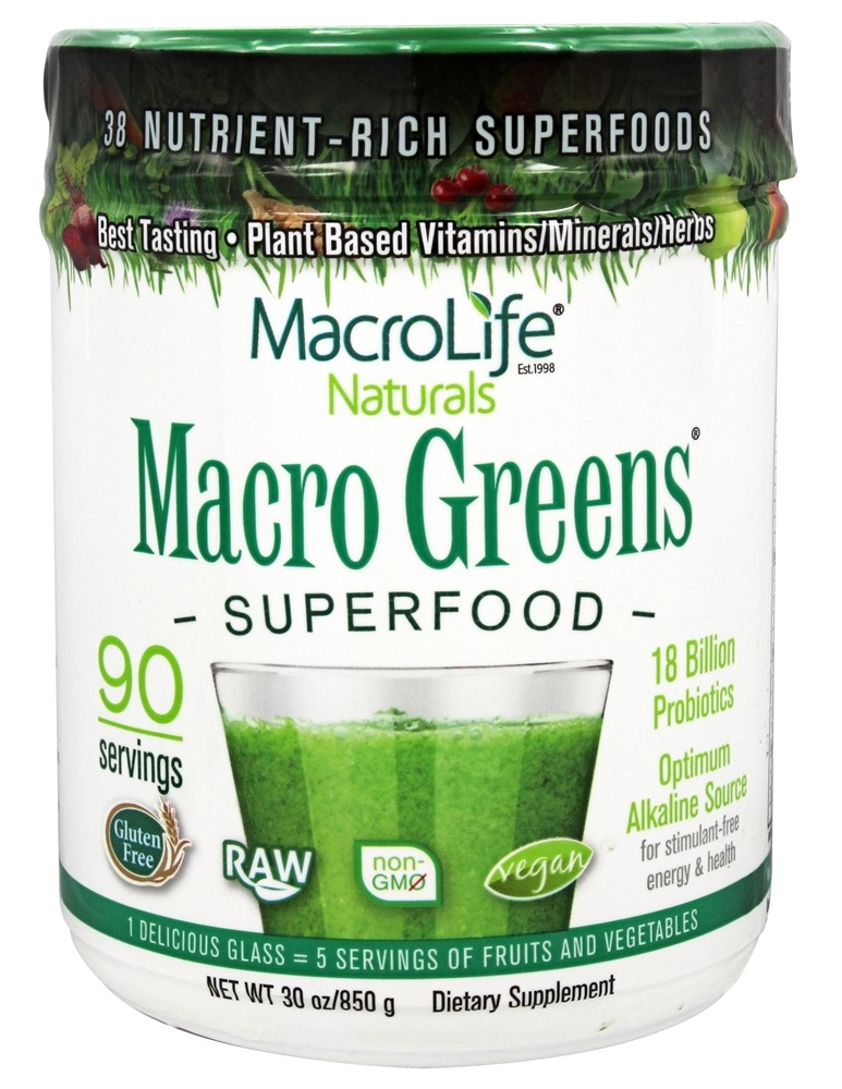 MacroLife Naturals - Macro Greens Nutrient Rich Super Food Supplement - 30 oz. formerly Miracle Greens