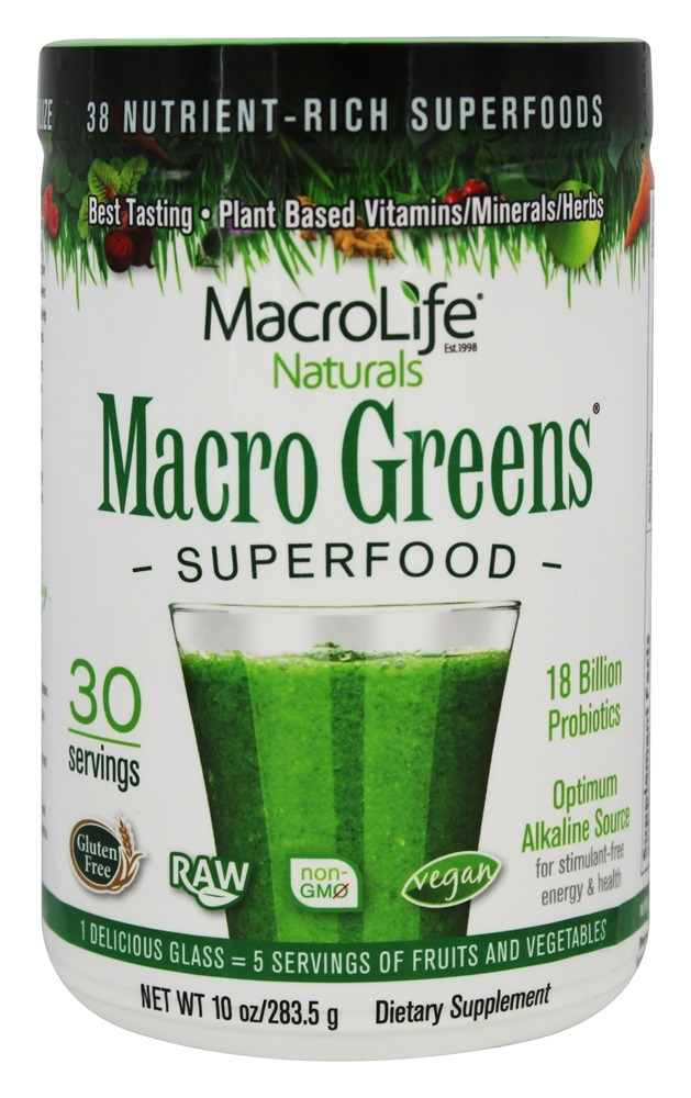 MacroLife Naturals - Macro Greens Nutrient Rich Super Food Supplement - 10 oz. formerly Miracle Greens