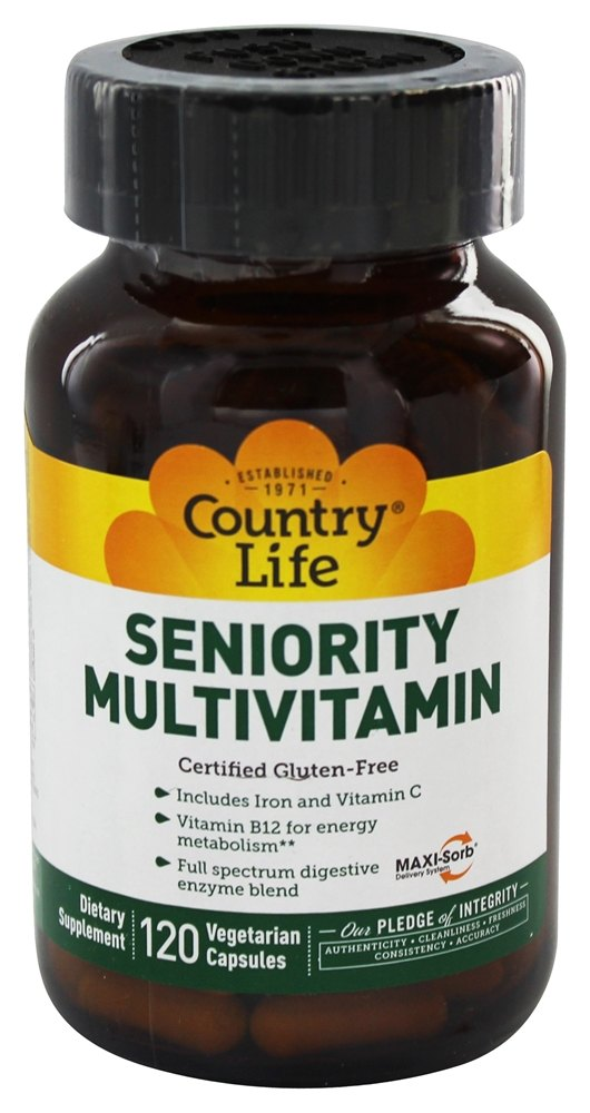 Country Life - Seniority Adult Multiple Multi-Vitamin with Digestive Enzymes - 120 Vegetarian Capsules