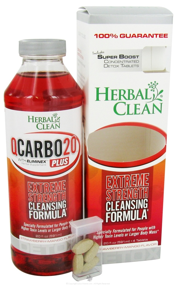 BNG Enterprises - Herbal Clean Qcarbo Detox Plus with Super Boost Strawberry- Mango Flavor - 20 oz.